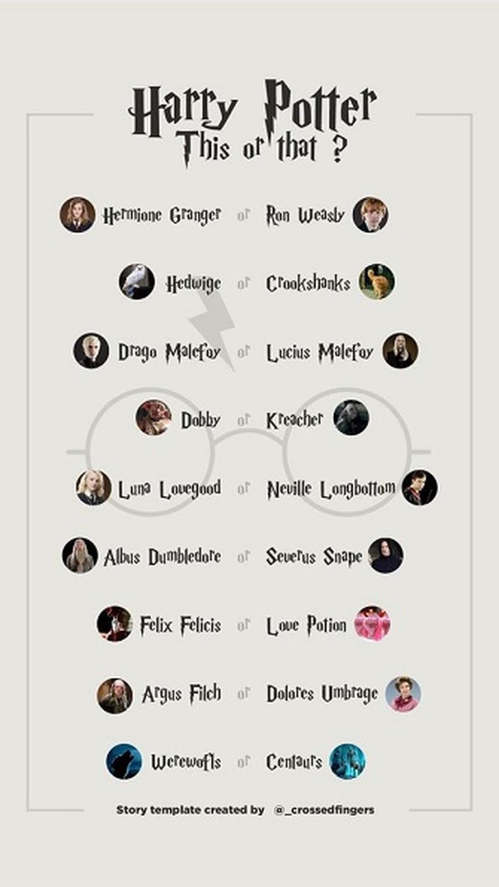 A escolha entre personagens da saga Harry Potter define a brincadeira para status do WhatsApp — Foto: (Reprodução/Pinterest)