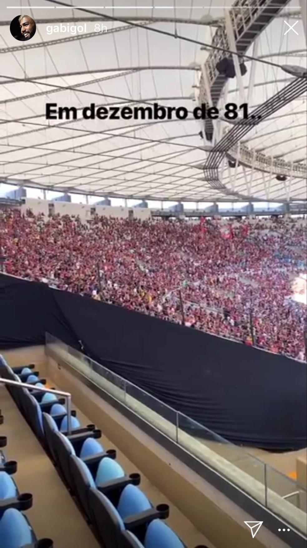 Gabigol registra sua música preferida da torcida do Flamengo — Foto: Reprodução / Instagram