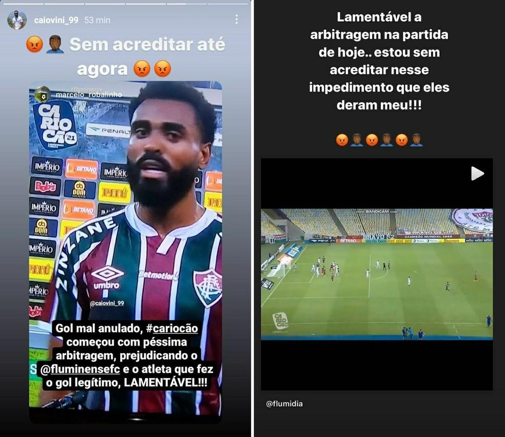 Caio Vinícius lamenta gol mal anulado da arbitragem em Resende x Fluminense — Foto: Reprodução / Instagram