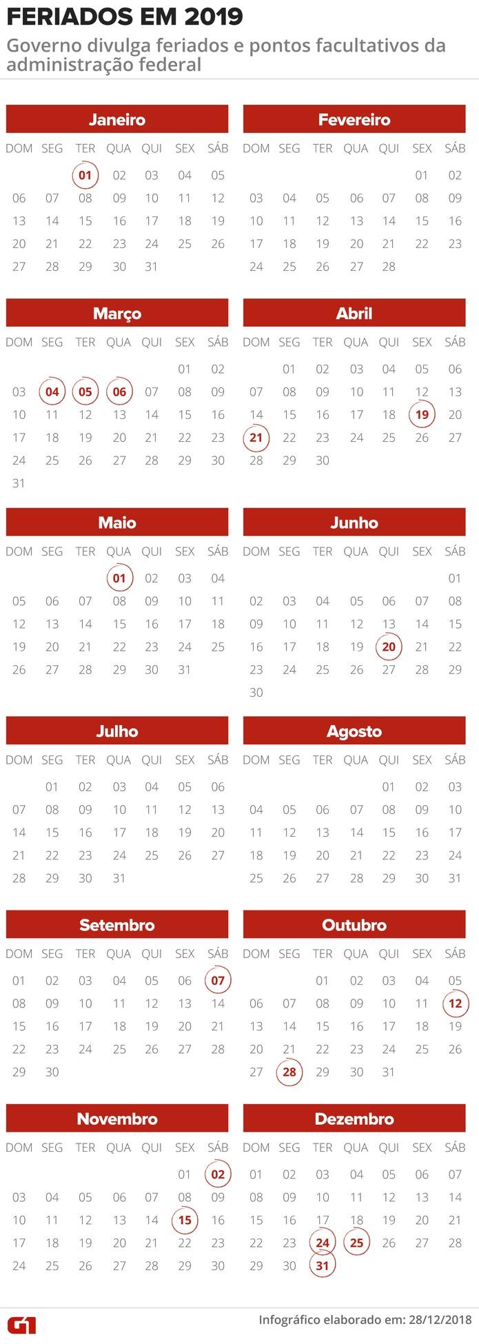 Calendario 2020 Brasil Com Feriados.Feriados E Pontos Facultativos Da Administracao Federal Em