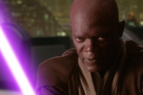 O ator Samuel L. Jackson como Mace Windu em Star Wars: Episódio III (Foto: Reprodução)