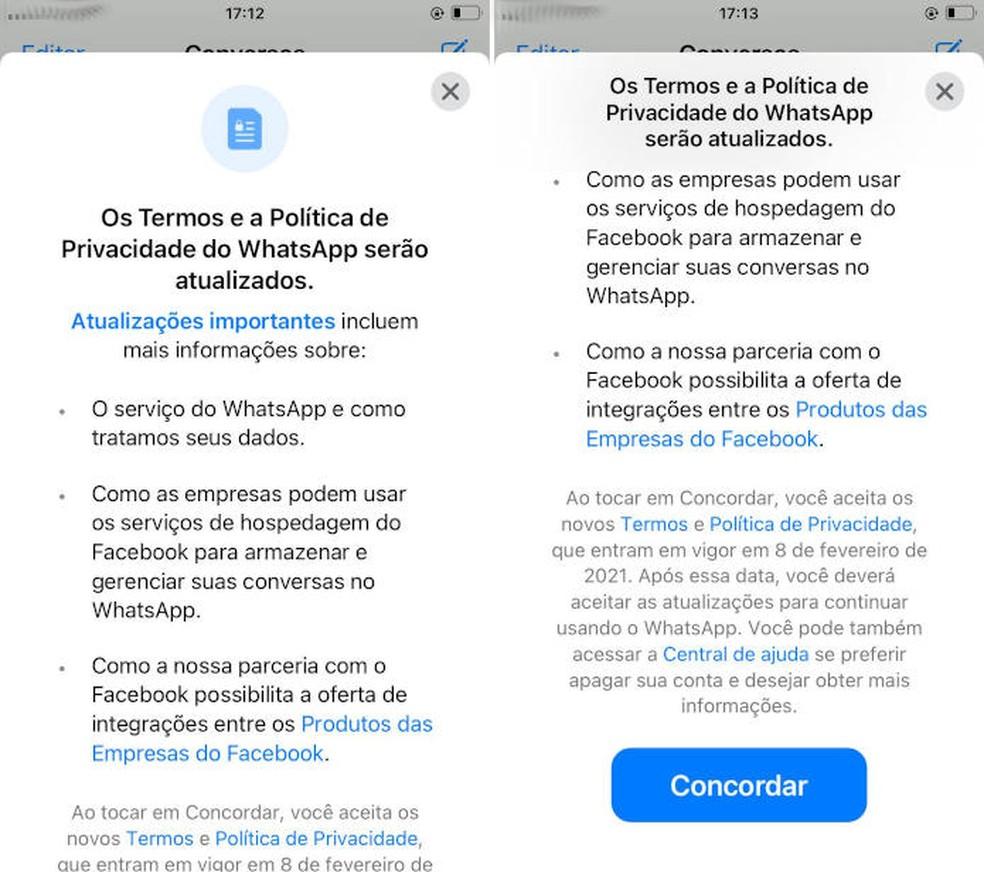 Novos termos do WhatsApp entram em vigor em 15 de maio — Foto: Reprodução/Pedro Cardoso