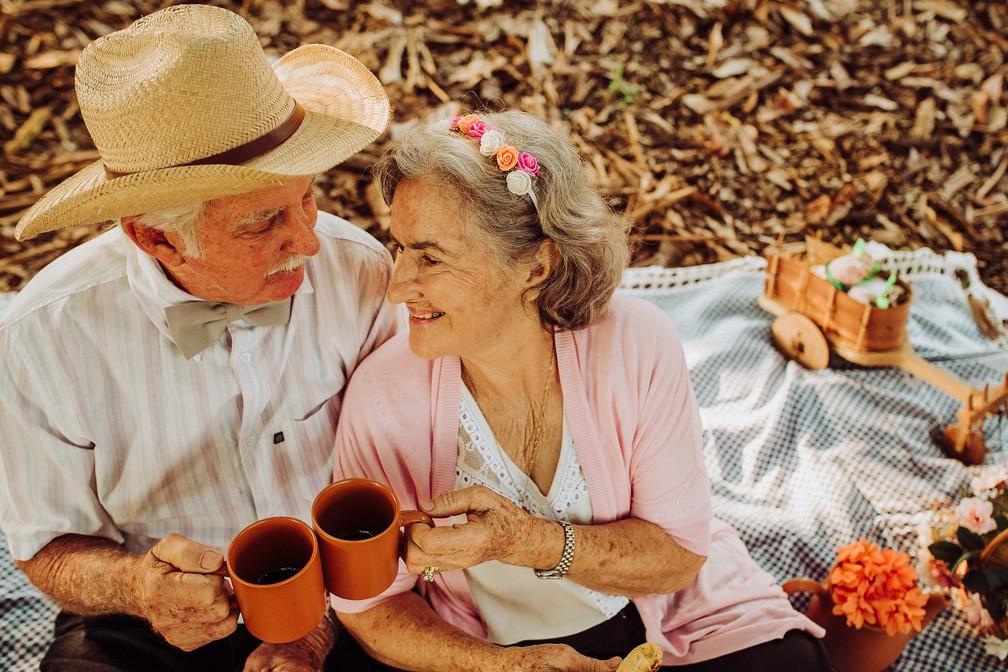 Os dois contaram os segredos de um casamento duradouro  (Foto: Gabriel Rodrigues/Reprodução)