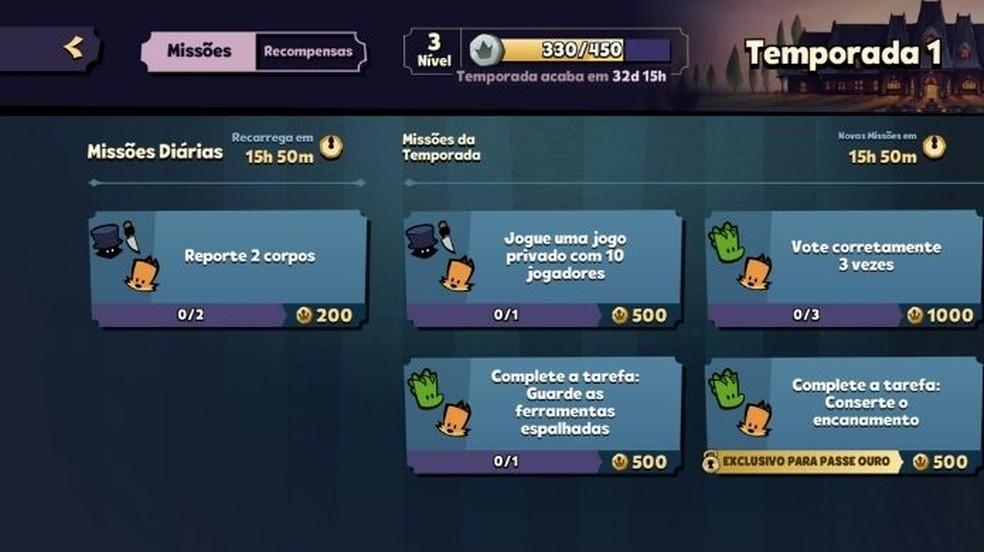 Panorama de missões é aberto ao clicar no índice do nível, que aparece na barra inferior da tela inicial do jogo — Foto: Reprodução/Adânia Souza