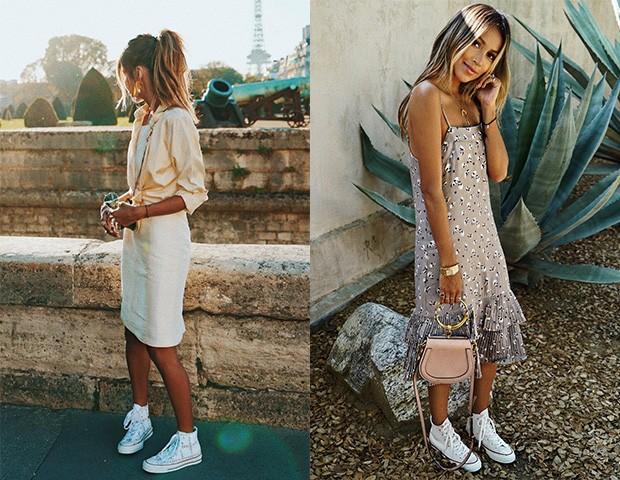 A blogger Julie Sariñana é fã do combo vestido com tênis (Foto: Instagram / Julie Sariñana)