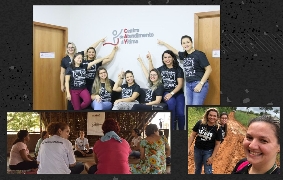 Registros mostram trabalho feitos pelo CAV; equipe oferece apoio às vítimas de violência de gênero — Foto: Divulgação/Centro de Atendimento à Vítima do MP-AC com montagem de Élcio Horiuchi/G1
