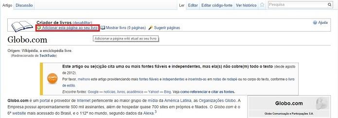 Criador de livros permite transformar artigos em ebooks para ler offline (Foto: Reprodução/Raquel Freire)