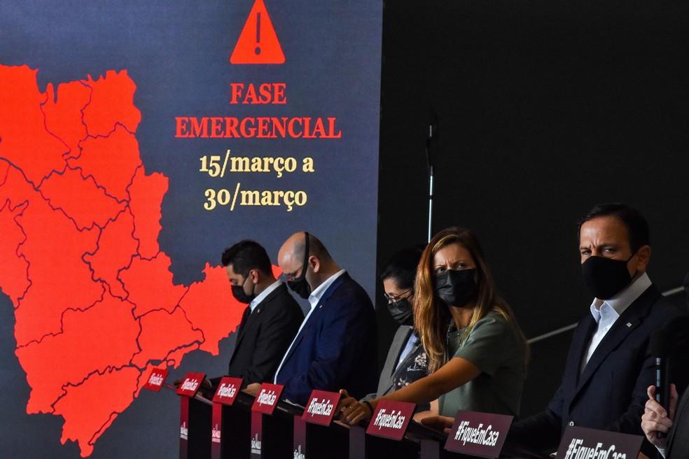 Governador João Doria anuncia novas medidas em SP para combate à pandemia  — Foto: Roberto Casimiro/FotoArena/Estadão Conteúdo