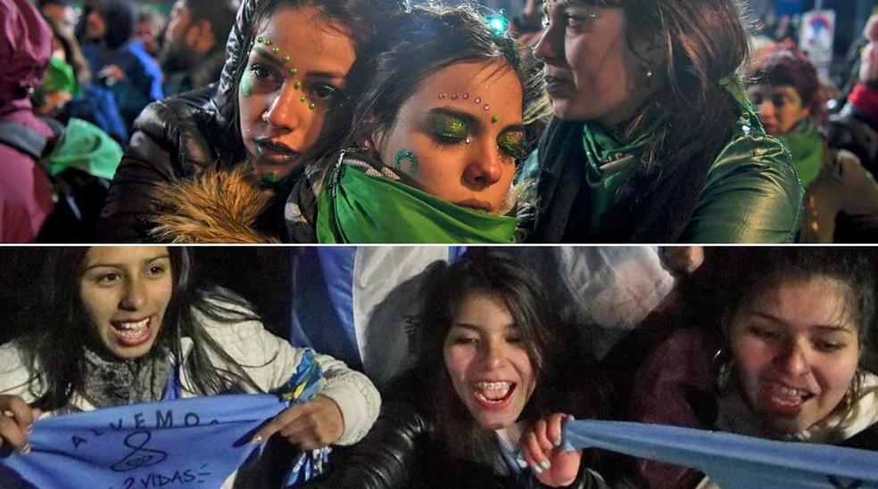Reações de ativistas pro e contra legalização do aborto na Argentina (Foto: Eitan Abramovich e Alberto Raggio / AFP)