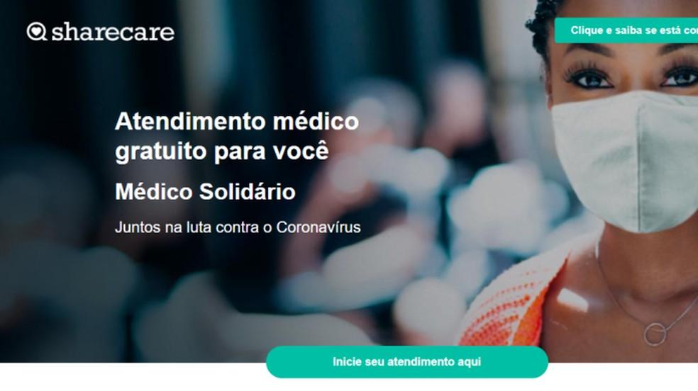 Plataforma Médico Solidário oferece atendimento online de graça — Foto: Reprodução/Paulo Alves