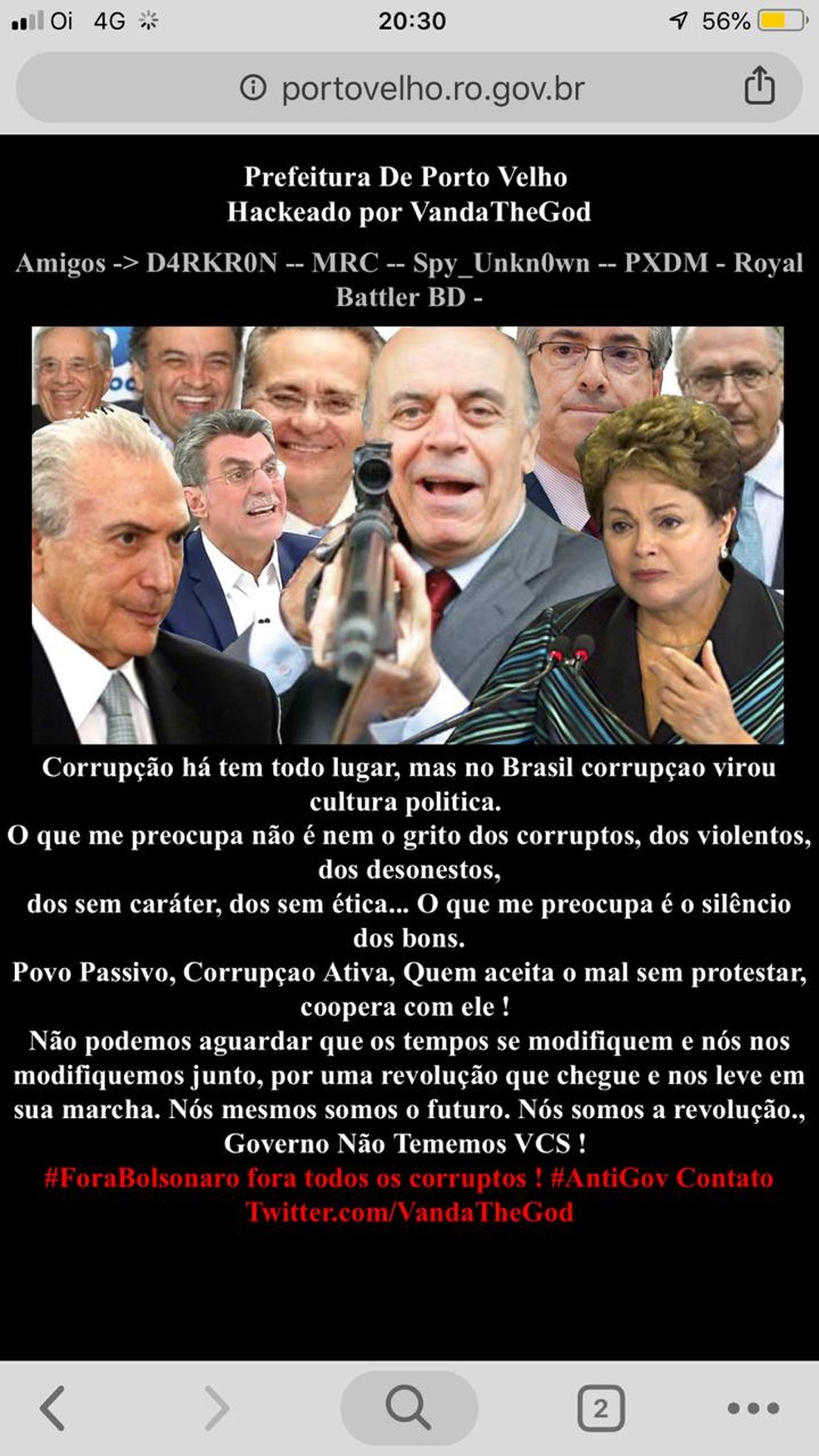 Site da prefeitura de Porto Velho é hackeado — Foto: Reprodução