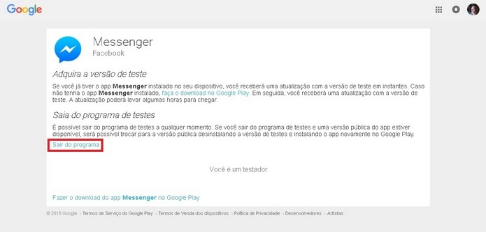 Destaque em link para sair do programa Beta tester do Messenger (Foto: Reprodução/Raquel Freire)