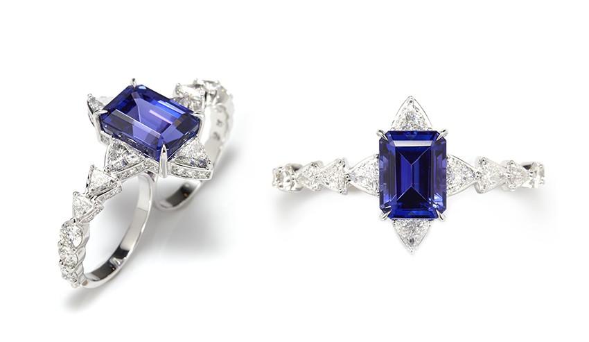 Anel duplo de tanzinita e diamante branco (Foto: Divulgação)