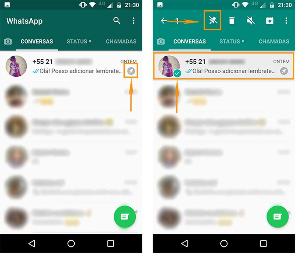 Encontre rapidamente a conversa no WhatsApp ou remova do topo (Foto: Reprodução/Barbara Mannara)