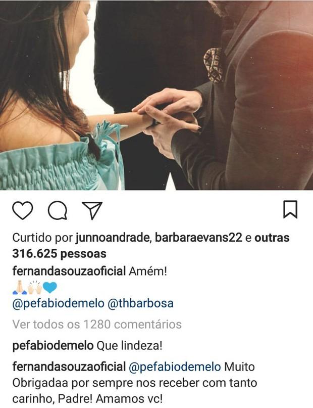 Comentários de padre Fábio de Melo e Fernanda Souza (Foto: Reprodução/Instagram)