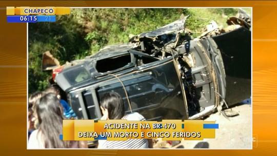 Acidente envolvendo família de vereador de Monte Carlo deixa um morto e cinco feridos na BR-470
