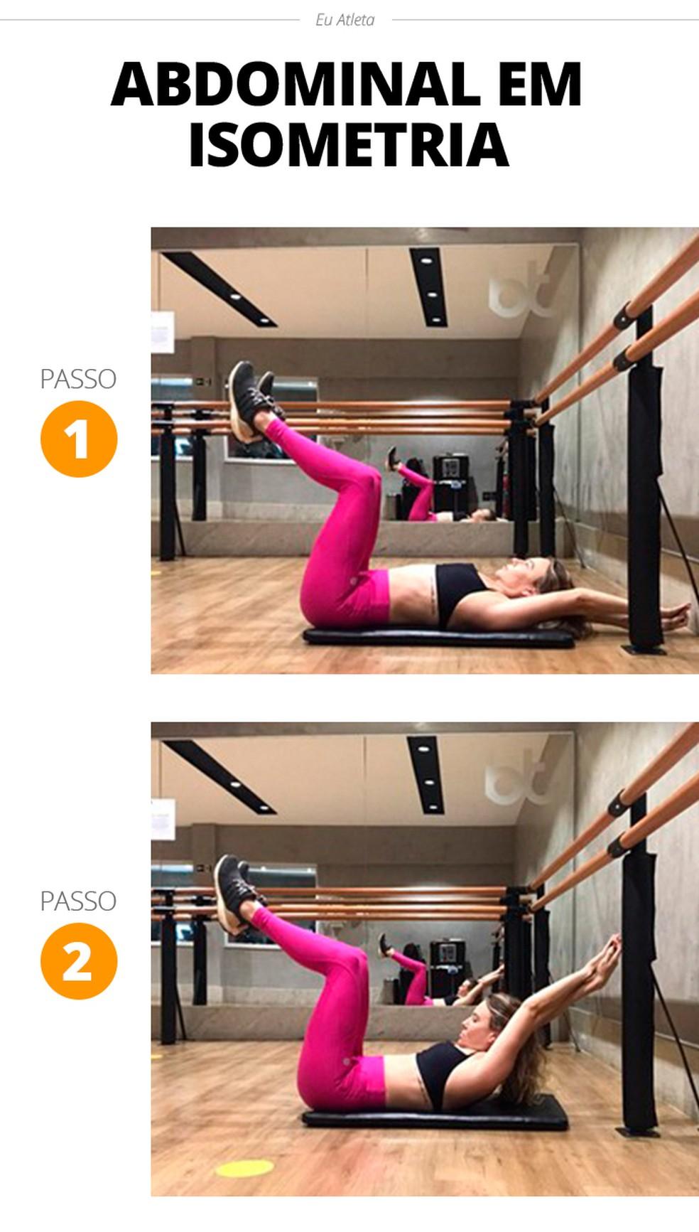 Abdominal em isometria é um excelente exercício para fortalecimento — Foto: Divulgação/Stephanie Iara Personal Trainer e Consultoria
