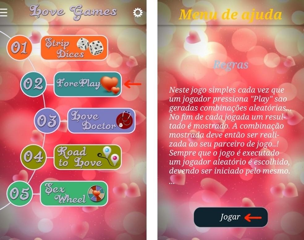 Opção do jogo de preliminares no menu principal do aplicativo para Android Jogos de Sexo — Foto: Reprodução/Raquel Freire