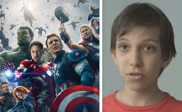 Os Vingadores da Marvel e o jovem Emilio Pachon (Foto: Reprodução)