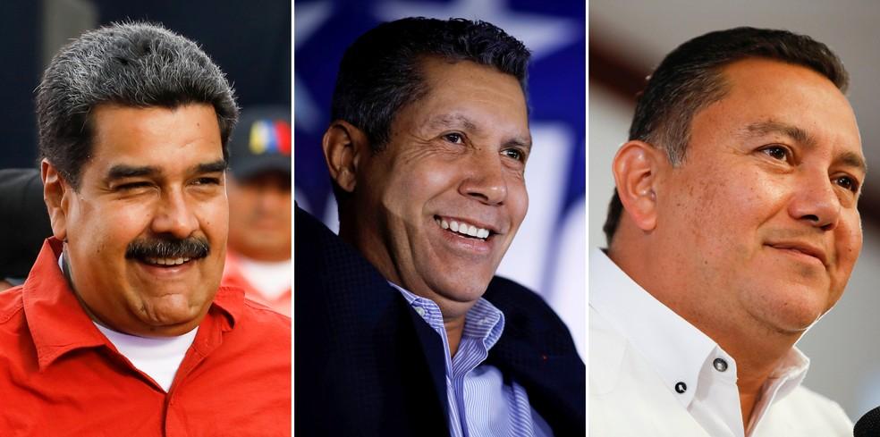 Nicolás Maduro, Henri Falcon e Javier Bertucci, os três principais candidatos à presidência da Venezuela (Foto: Reuters/Carlos Garcia Rawlins/File Photos)