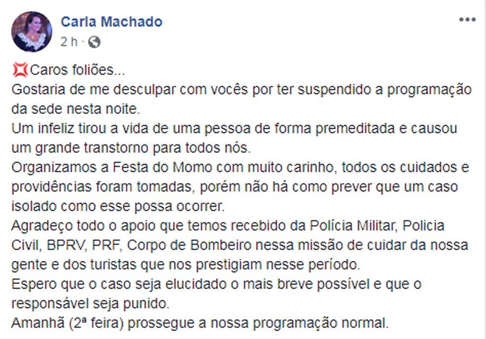 Prefeita do município falou sobre o caso em rede social — Foto: Reprodução/Facebook