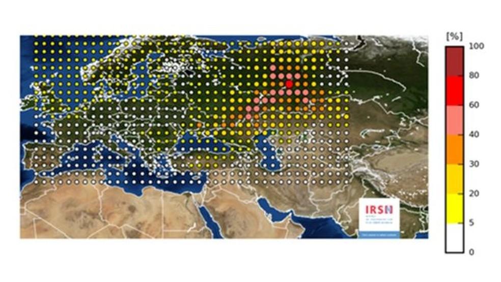 O material radioativo atingiu a maior parte dos países da Europa (Foto: IRSN/BBC)