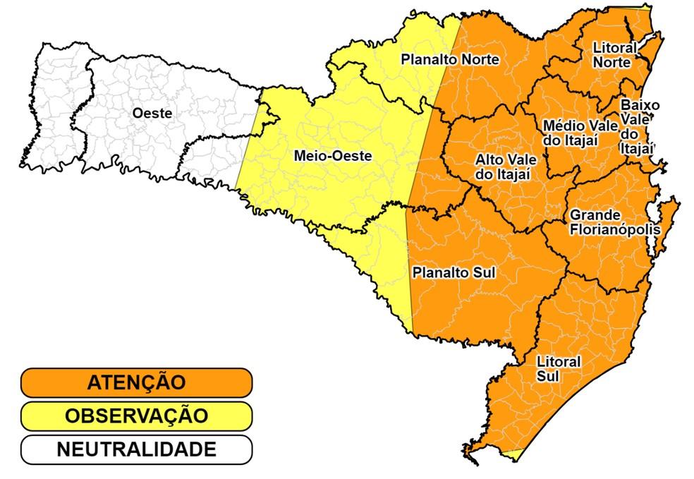 Previsão do tempo indica que pode haver temporais ainda na noite desta segunda (28) — Foto: Defesa Civil/Divulgação