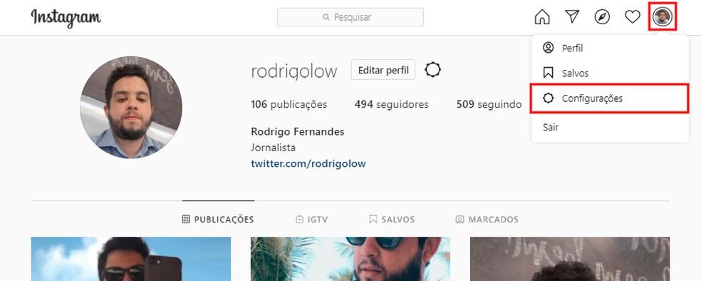 Acessando as configurações do perfil do Instagram pelo computador — Foto: Reprodução/Rodrigo Fernandes