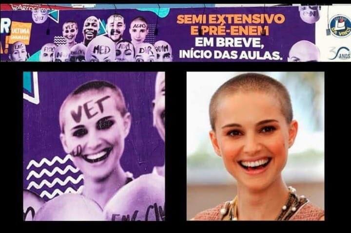 A foto da atriz Natalie Portman utilizada na publicidade do colégio de MG (Foto: Twitter)
