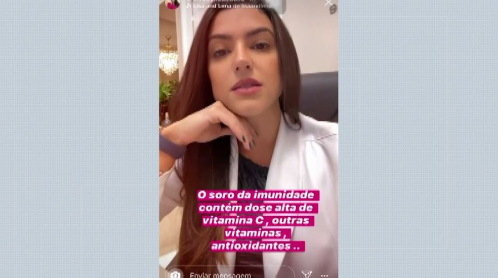 A médica Isabella Abdalla diz que há uma grande procura por soro da imunidade por medo do coronavírus Ribeirão Preto, SP — Foto: Reprodução/Instagram