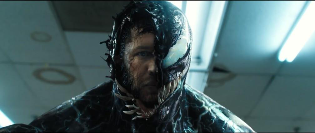 Tom Hardy em cena de 'Venom' — Foto: Divulgação