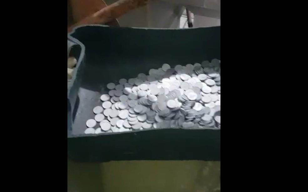 Moedas falsas achadas em casa na Mooca (Foto: Divulgação/Polícia Civil)