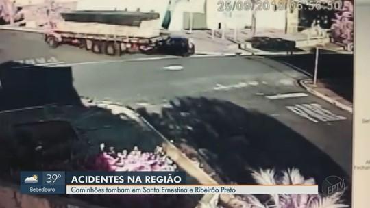 Caminhão com 7,7 mil tijolos arrasta carro com idosa e tomba em Santa Ernestina, SP; vídeo
