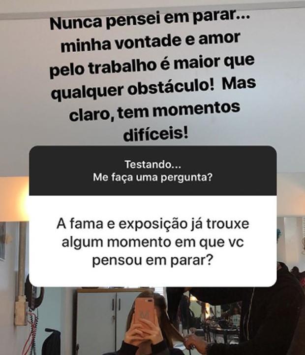 Marina Ruy Barbosa responde seguidor sobre fama (Foto: Reprodução/Instagram)