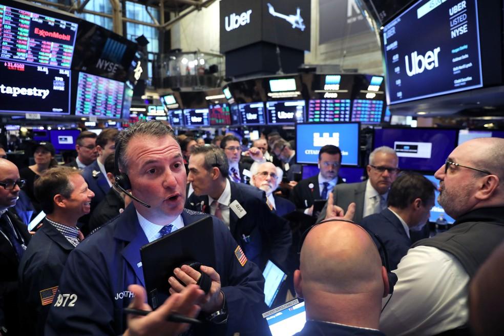 Ações da Uber fecharam primeiro dia de negociação em queda de 7,62% — Foto: Spencer Platt/Getty Images North America/AFP
