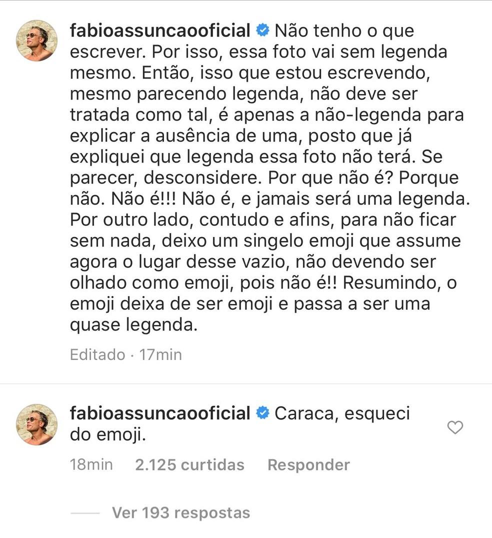 Fabio Assunção compartilha textão em rede social e diverte seguidores ao esquecer de emoji — Foto: Reprodução
