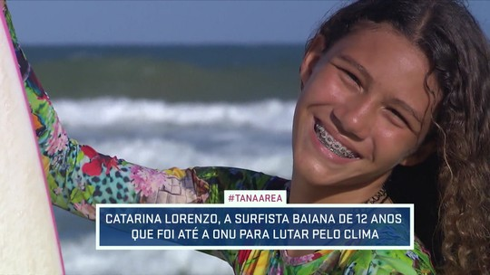 Ativista climática em Salvador, surfista de 12 anos que foi à ONU sonha com futuro no esporte