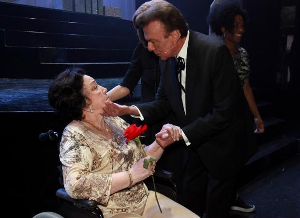 Lolita Rodrigues e Agnaldo Rayol durante sessão especial de Hebe - O Musical (Foto: Marcos Ribas/BrazilNews)