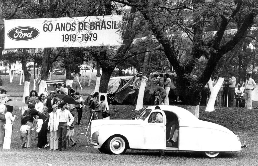 Ford Motors do Brasil comemora 60 anos no país, em agosto de 1979 — Foto: Osvaldo Luiz/Estadão Conteúdo/Arquivo