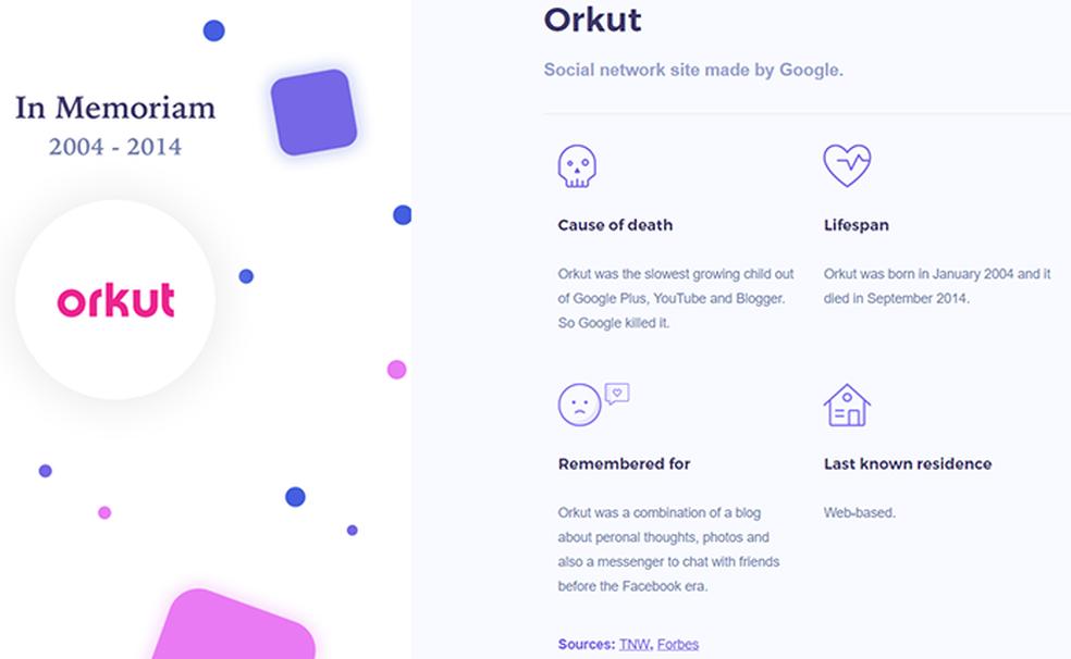 Obituário do Orkut explica que baixo crescimento da rede encorajou o Google a decretar seu fim em 2014 (Foto: Reprodução/Filipe Garrett)