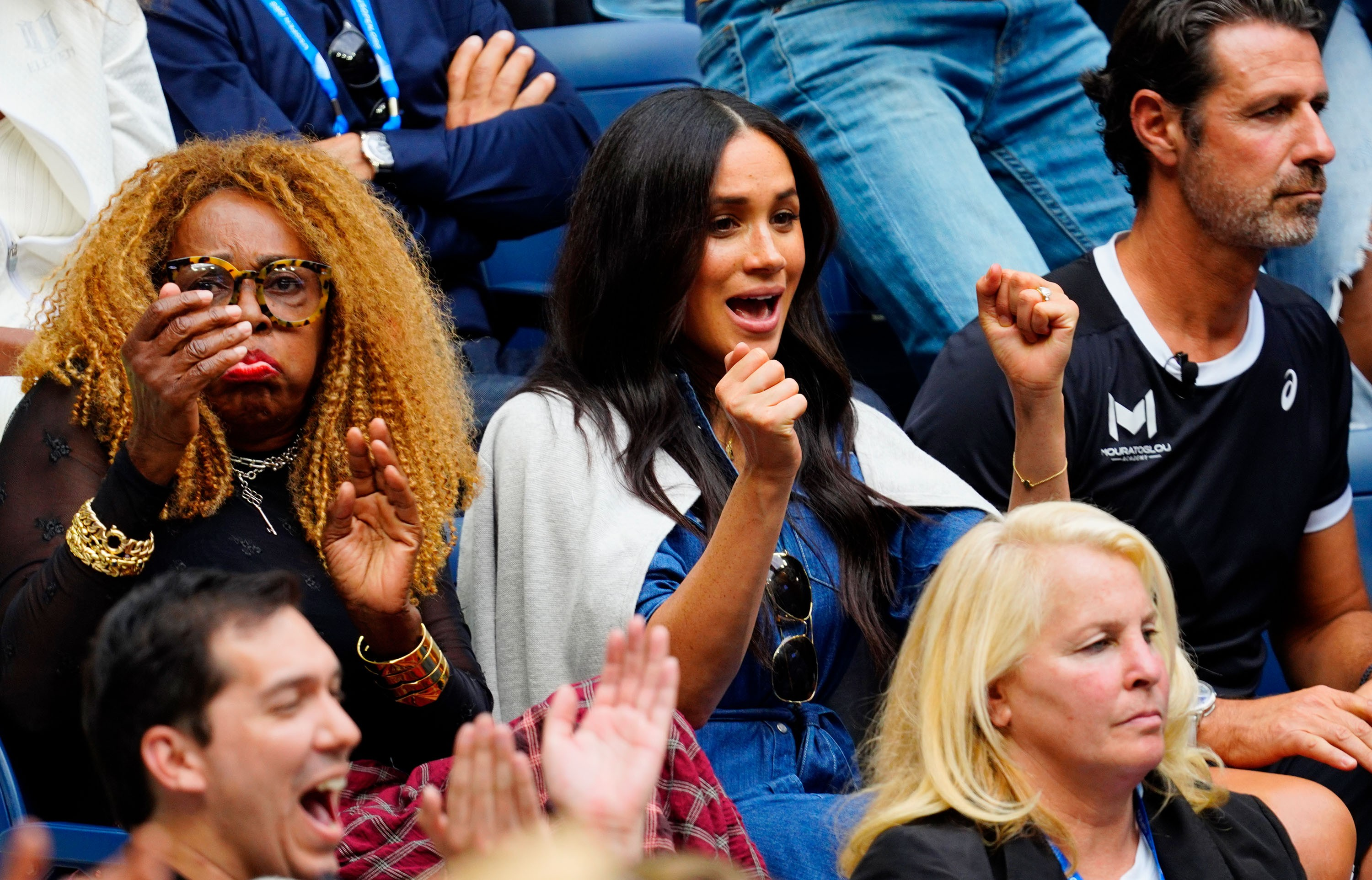 Oracene Price e Meghan Markle, Duquesa de Sussex, assistem à Serena Williams na final do US Open 2019 em Nova York (Foto: Getty Images)