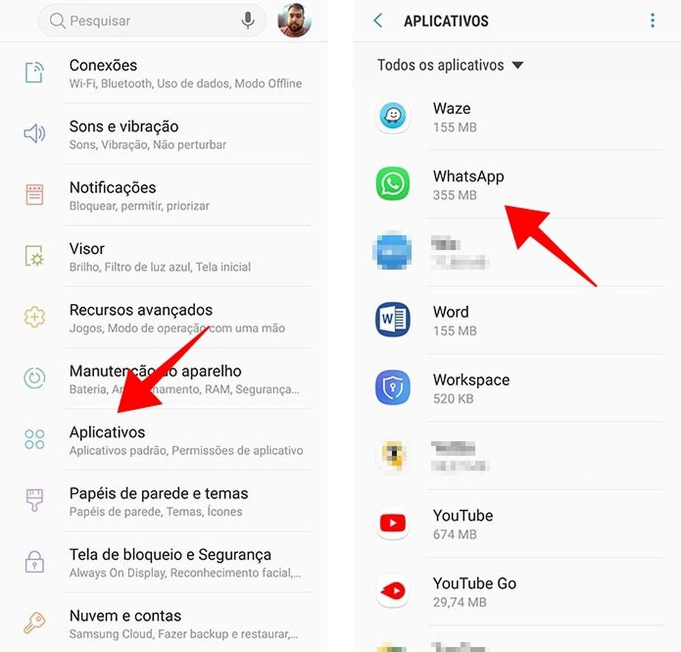 Acesse o WhatsApp nas configurações do Android (Foto: Reprodução/Paulo Alves)