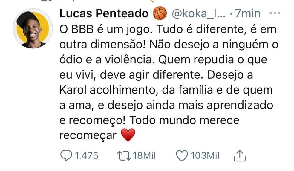 Lucas Penteado — Foto: Reprodução/Twitter