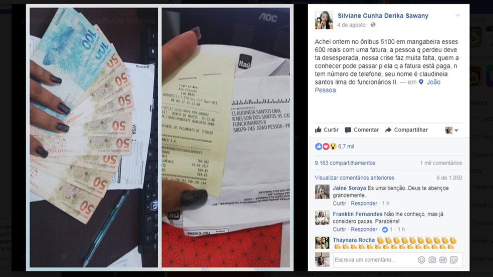 Após pagar conta, Silviane publicou a história em rede social (Foto: Reprodução/Facebook/Silviane Cunha)