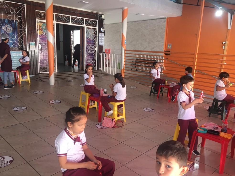 Escolas de Manaus retomam atividades com sistema de rodízio entre alunos — Foto: Divulgação/Escola Meu Caminho