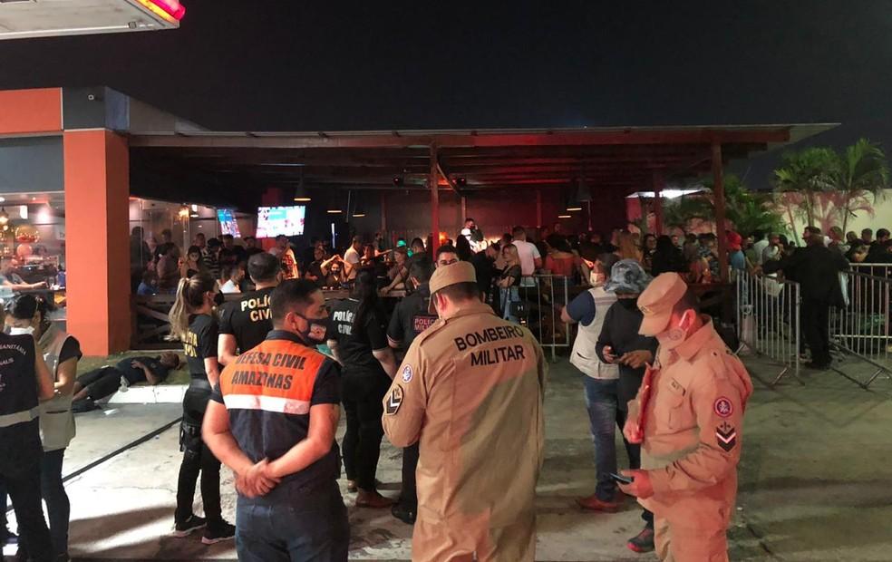 Em Manaus, fiscalização fecha bares por descumprimento de medidas de proteção. — Foto: Divulgação/SSP-AM