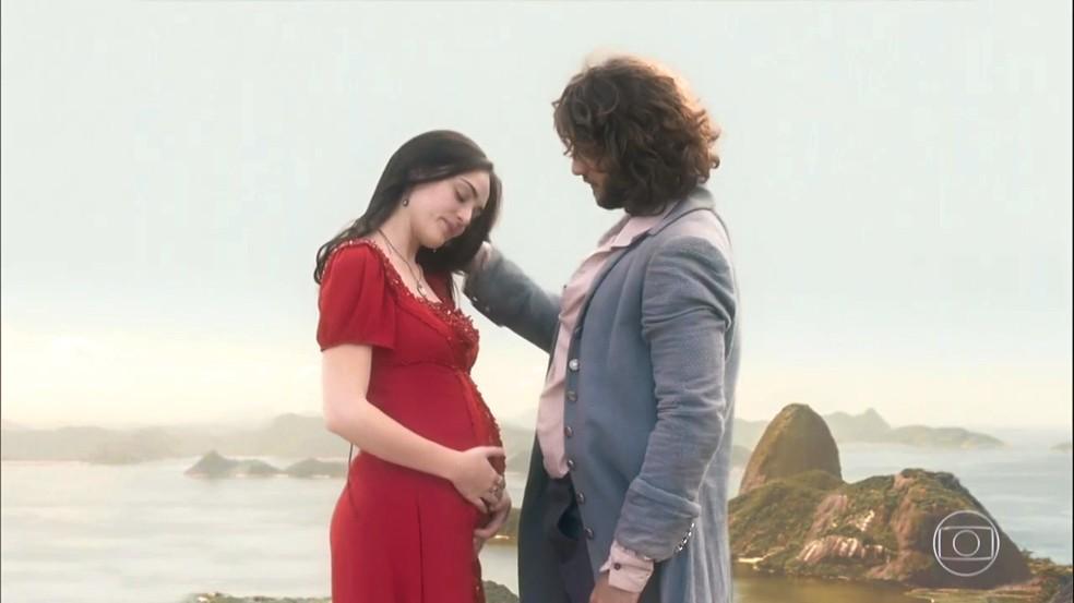 Anna (Isabelle Drummond) engravida novamente de Joaquim (Chay Suede), em 'Novo Mundo' — Foto: TV Globo