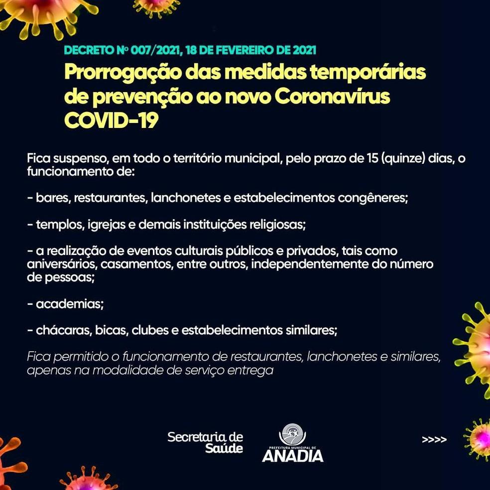 Decreto da prefeitura de Anadia, AL, prorroga medidas de prevenção contra o coronavírus após caso da nova variante — Foto: Divulgação/Prefeitura de Anadia