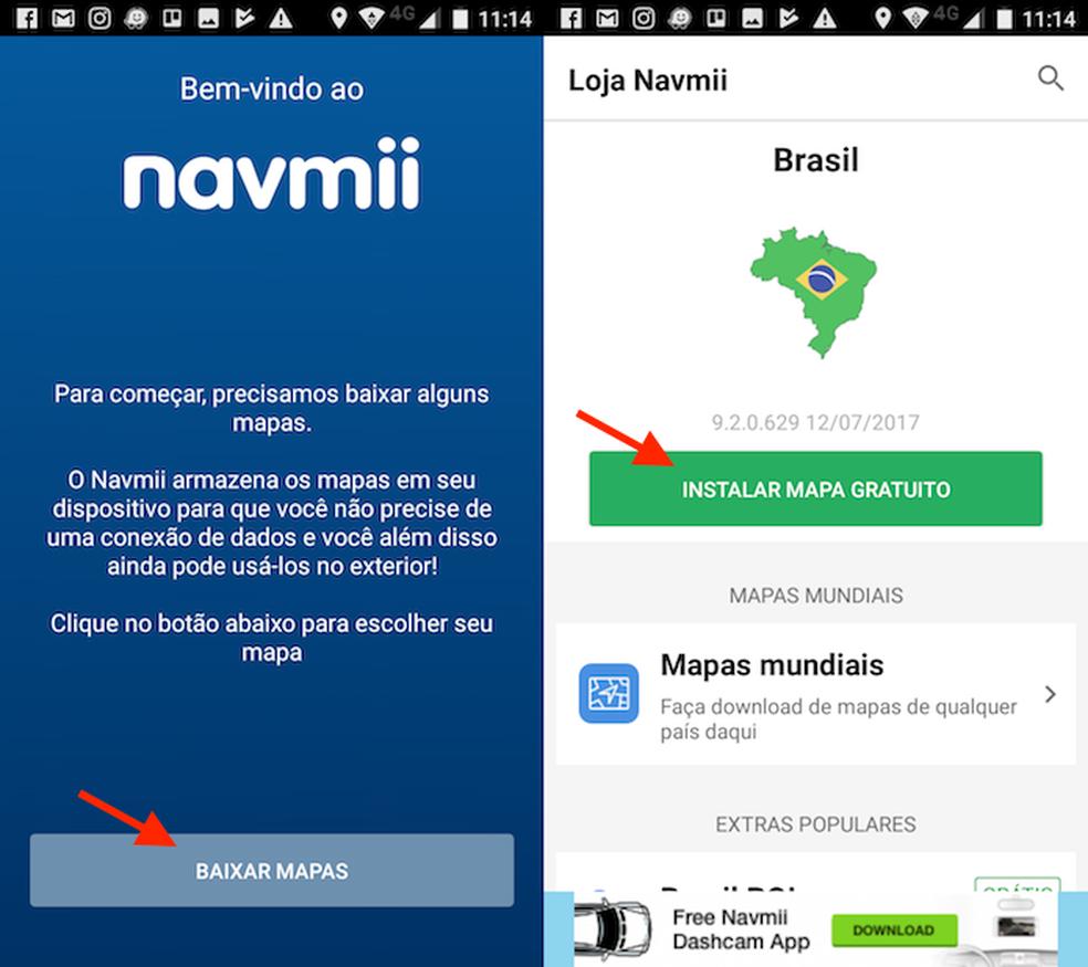 Caminho para iniciar o Navmmi e instalar um mapa para usar offline (Foto: Reprodução/Marvin Costa)