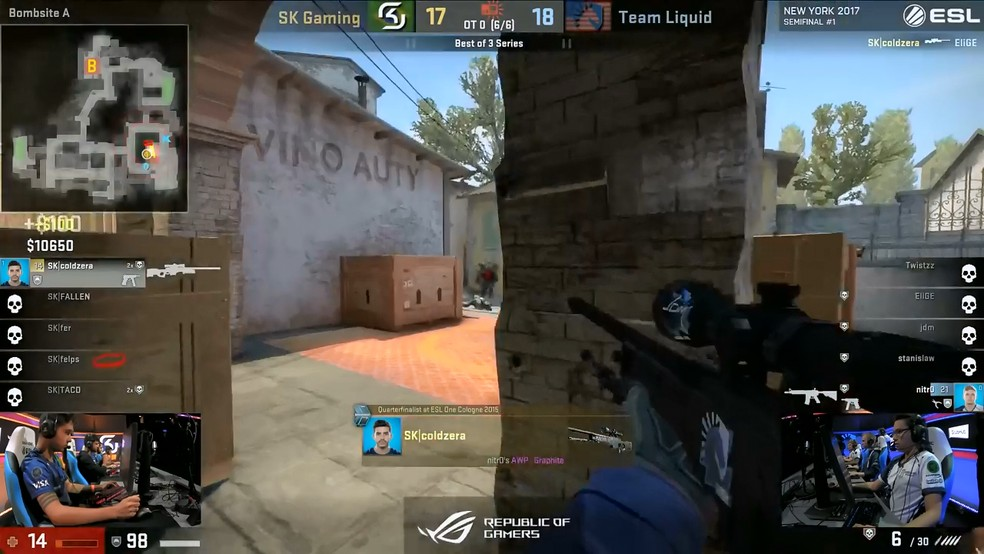 Coldzera garante o round com direito a vitória no clutch e eliminação feita por quickscope — Foto: Reprodução/Youtube ESL Counter-Strike